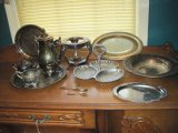 Lot - Silverplate Coffee, Creamer, Sugar, Engraved Tray, Chafing Dish Base