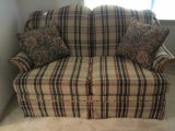 Hickory Hill Furniture Love Seat w/ Oak Trim Plaid Upholstery Pleated Skirt Trim