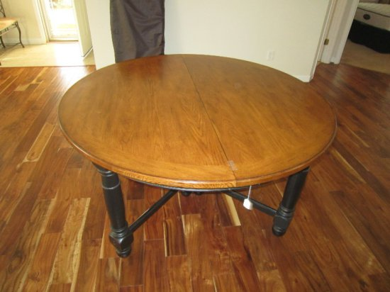 Extendable Wood Round Dining Table Mid-Century Modern Style w/ Leafs