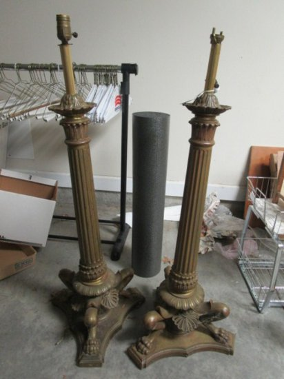 Pair - Brass Column Design Lamps, Ornate Motif & Paw/Claw Feet on Base