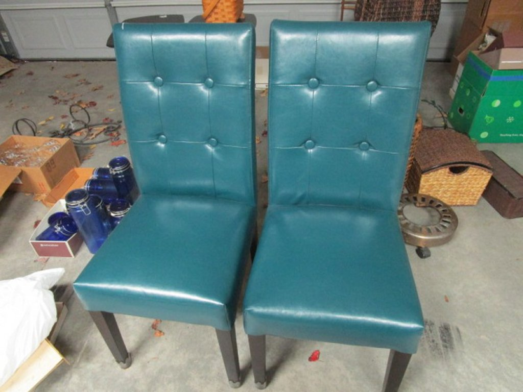 Pair - Leather Pin Back Chairs, Sea-Green Upholstered, Wood Legs, Metal Feet