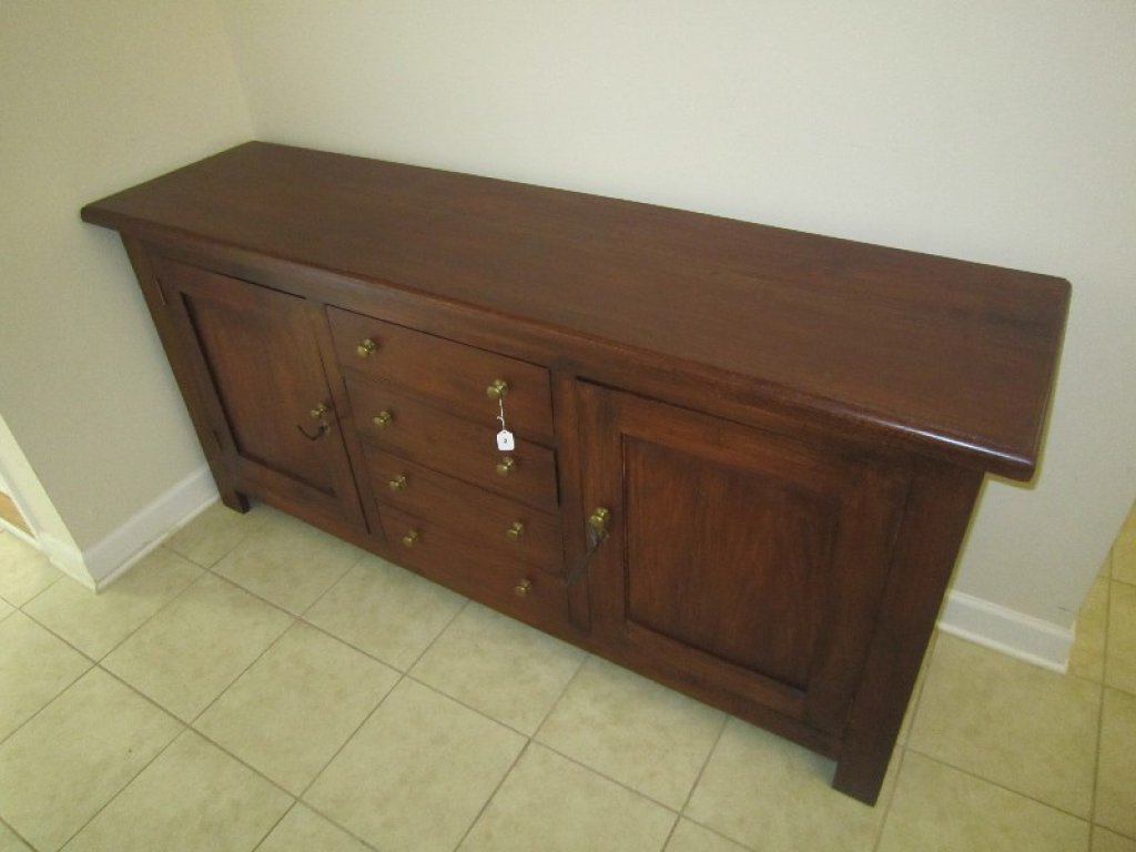 Solid Stained Wood 4 Drawer/2 Hutch Door Buffet Table, Metal Pulls, 2 Locks w/ Keys