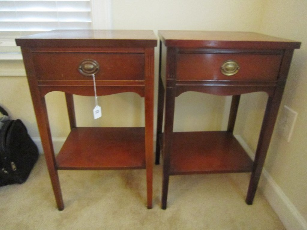 Pair - 1 Drawer Wooden Side Tables, Metal Pulls, Ornate Design, 1 Missing Pull, 2 Tier