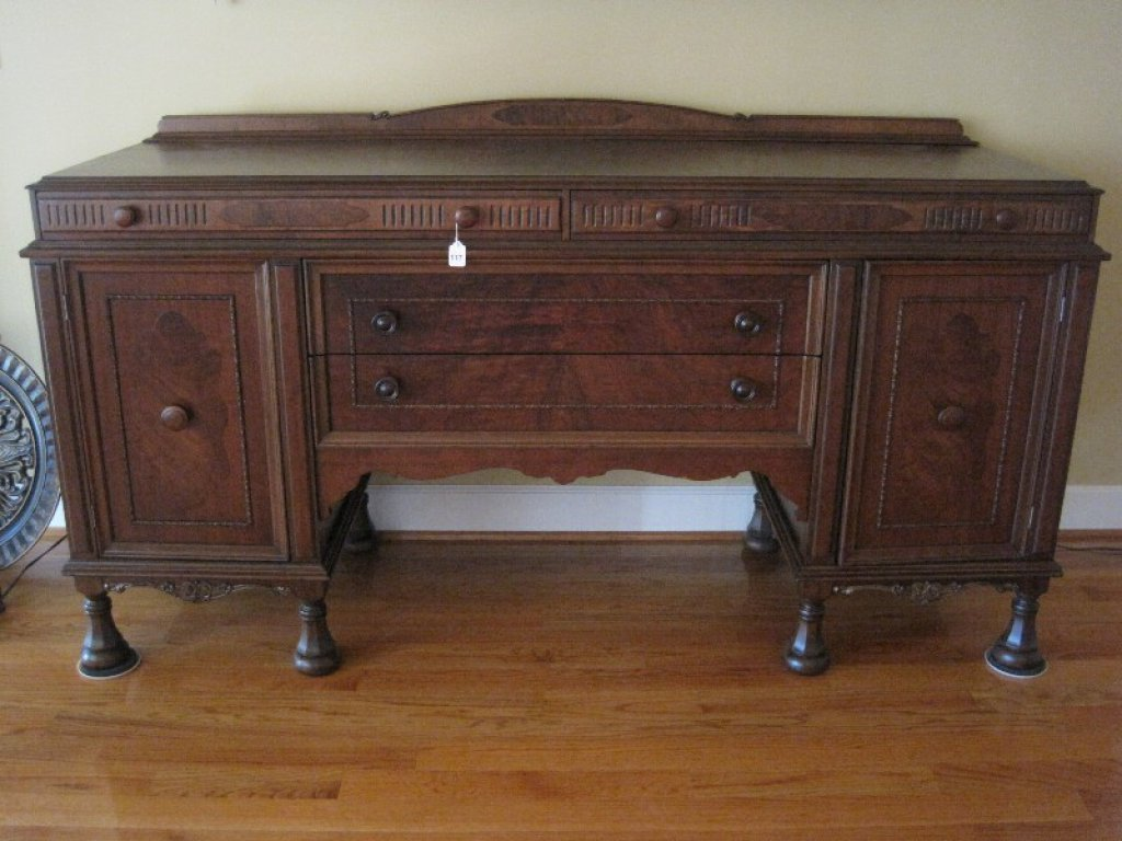 Flame Grain Mahogany Depression Era Buffet, Dovetail Drawers, Wooden Pulls