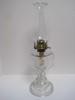 Pressed Glass Pedestal Oil Lamp w/ Unique Scalloped Trim Chimney