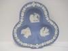 Wedgwood Cream Color on Blue Jasperware Small Club Form Ashtray w/ Oak Leaf Border