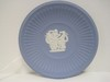 Wedgwood Cream on Blue Jasperware Round Fluted Compotier w/ 3 Graces Relief Design