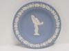Wedgwood Cream Color on Blue Jasperware Round Tray Semi-Nude Lady & Oak Leaf Border