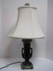 Urn Form Double Handle Table Lamp Black Gloss Finish on Ornately Embellished Antiqued