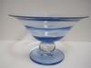 Art Glass Ice Blue Compote w/ Flared Rim