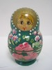 Set - 5 Russian Nesting Dolls Hand Crafted/Painted Floral Design Green Background