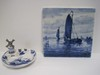 Lot - Delft Blue/White Novelty Figural Windmill Ashtray Hand Painted Top 3 1/2""