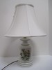 Porcelain Accent Lamp Botanical Wildflowers/Foliate Transfer Pattern w/ Green Trim