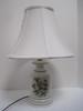 Porcelain Accent Lamp Botanical Wildflowers/Foliate Transfer Pattern w/ Green Trim