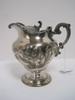 Special Metal Silverplated Footed Syrup Pitcher w/ Relief Tulip Pattern