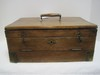 Antique Pine Box w/ Double Latch, 2 Fitted Interior Trays, Center Wood Handle & Brass Trim