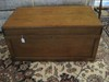 Early Oak Tool Box Chest w/ Tray, Hinged Top, Wrought Iron Side Handles & Brass Escutcheon