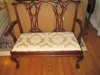 Elegant Mahogany Chippendale Style Settee w/ Intricate Carved Splats & Scalloped Shell