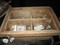 Wooden Storage Box w/ Contents, Misc. Tools, Nails, Metal Attachments, Etc.