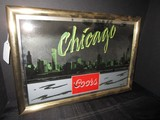 Vintage Skyline Mirrored Chicago Coors © 1986 Wall Hanging Picture in Metal Frame