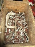 Wood Box w/ Contents Including Clamps, Screws, Nails, Etc.