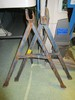 """Trojan Manufacturing Blue Metal Saw Horses 27"""" H Highest Point"""