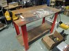 2 Tier Work Bench Wooden/Metal w/ Vise