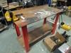 2 Tier Work Bench Wooden/Metal w/ Vise