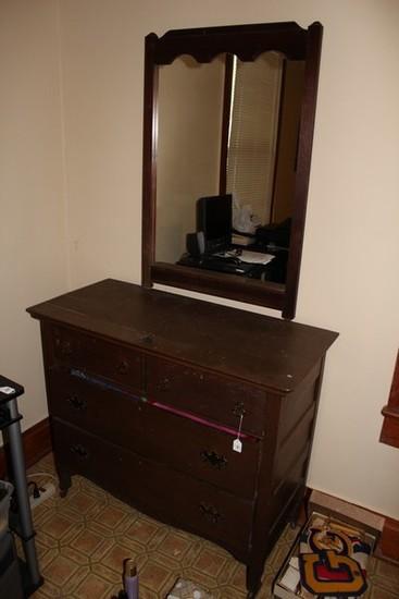 Dark Wood 2 Over 2 Dresser w/ Vanity Mirror, Bow Skirt, Casters