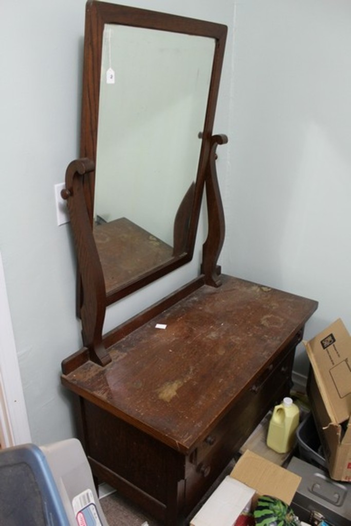 Lot: Stained Wooden Bedroom Vanity w/ Attached Mirror ...