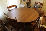 Wooden Circular Dining Table w/ 4 Chairs, Drop Sides