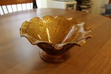 Amber Sandwich Pattern Pressed Glass Fruit Bowl Bead/Ornate/Flower Pattern Design