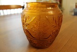Amber Pressed Glass Jar Bead/Ornate/Flower Pattern Design