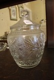 Clear Sandwich Pattern Pressed Glass Jar Bead/Ornate/Flower Pattern Design