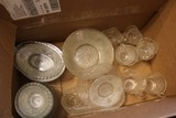 Lot - Pressed Glass Bowls, Cups, Creamers, Sugar, Oval Plates, Etc.