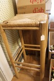 Vintage Wooden Stool w/ Wicker Seat