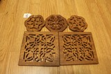 Wooden Wall Décor Lot - Floral/Square Cut Designs
