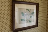Hand Drawn White Flower, Signed Pat in Wood Frame/Matt