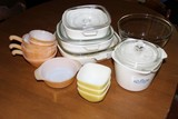 Lot - Corningware Casseroles w/ Glass Tops, Blue Floral Pattern