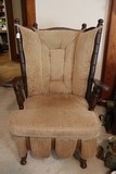 Vintage Bamboo-Spindle Style Wood Rocker Spindle Back/Arms