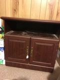 Wood Veneer TV Cabinet, 1 Shelf, 2 Hutch Doors, Raised Panel Design