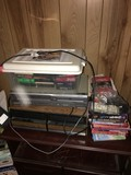 Lot - Sango VCR/DVD Player w/ DVD's/VHS's w/ VHS Organizer