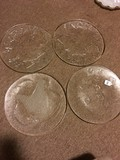 4 Glass Platter Plates Christmas Motif - 1 Frosted Glass Dove 13 1/4
