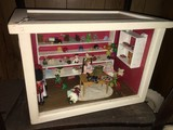 Doll Shop/Repair Desk Diorama in White Wood Box