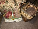 Wicker Lot - Basket w/ Sunflower Motif, Baskets, Bowl, Etc.
