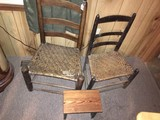 Lot - 2 Wicker Chairs, Vintage 1 Wood Stool, Ladder Back