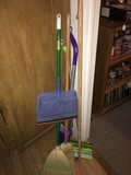 Lot - Brooms, Brushes, Swiffer Floor Cleaner, Etc.
