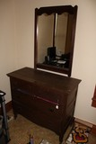 Dark Wood 2 Over 2 Dresser w/ Vanity Mirror, Bow Skirt, Casters