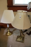 Pair - Brass Adjustable Desk Lamps, 1 Column Design, Leaf Neck w/ Shade