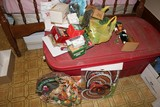 Christmas Lot - Plastic Christmas Tree in Box, Tinsel Accessories, Décor
